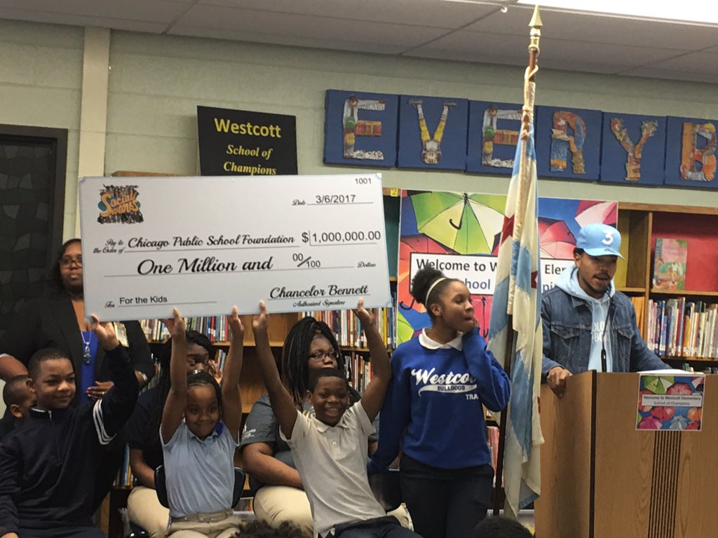 chance the rapper donates one million dollars